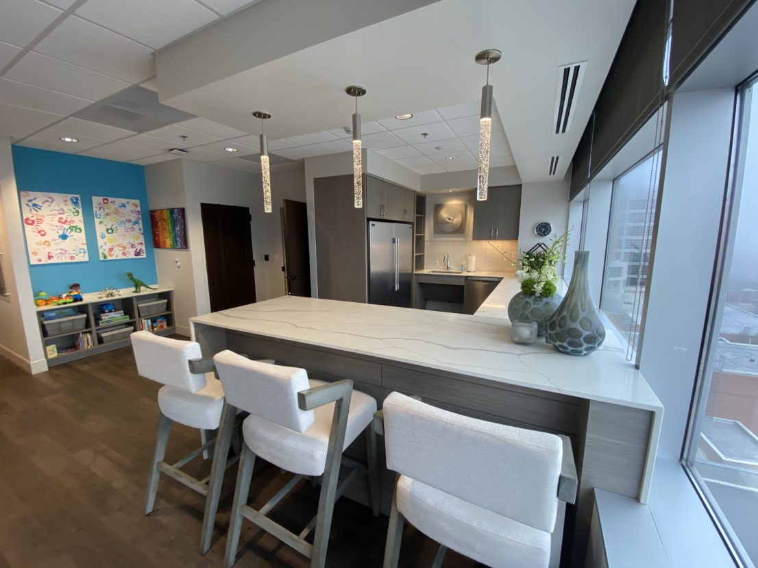 Kitchen and Workstation in Ronald McDonald Family Room