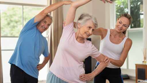 Image of a s couple doing exercise at home with physiotherapist.
