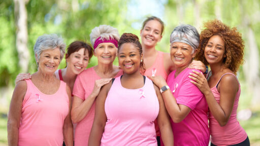 Women in pink supporting Breast Cancer