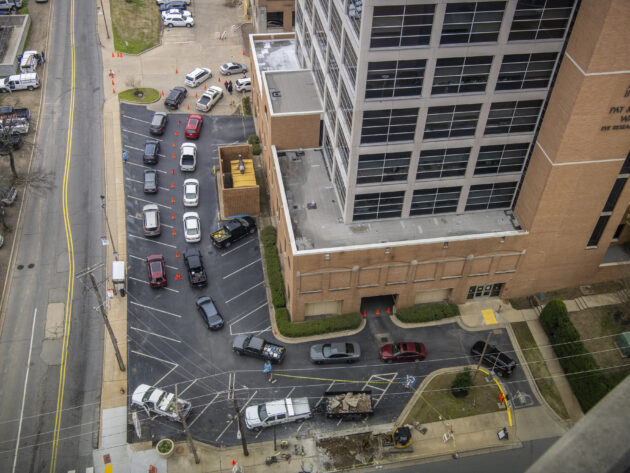 COVID-19 Drive-Thru Screening from above